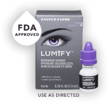 Lumify package shown along with eye dropper bottle and FDA approved label. Use as directed.