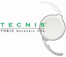 Tecnis® Toric Aspheric logo with image of contact lens.