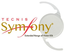 Tecnis Symfony® logo with image of contact lens.